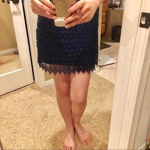 Crochet lace mini skirt navy